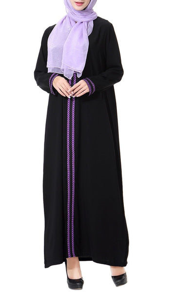 Front Embroidered Casual Abaya Dress - EastEssence.com