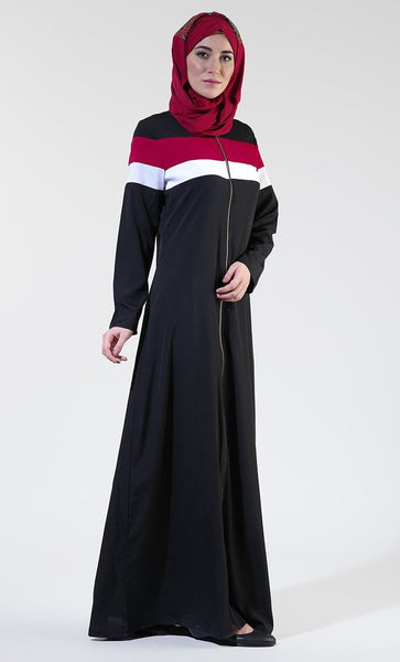Front Open Black Everyday Zipper Abaya/ Jilbab - EastEssence.com