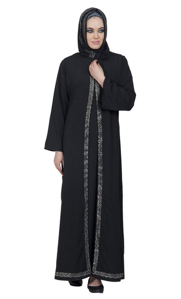 Front Open Chain Bordered Motif Arabic Crystal Abaya/ Jilbab - EastEssence.com