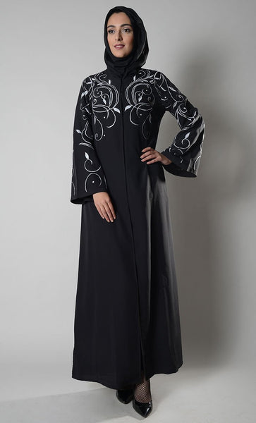 Front open embroidered muslimah abaya dress - EastEssence.com