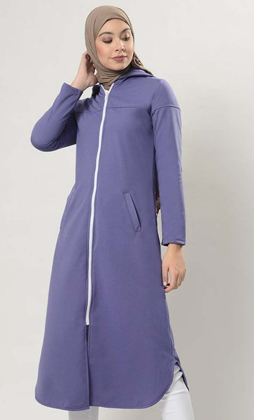 Front Open Extra Long Zipper Hoodie Tunic - EastEssence.com