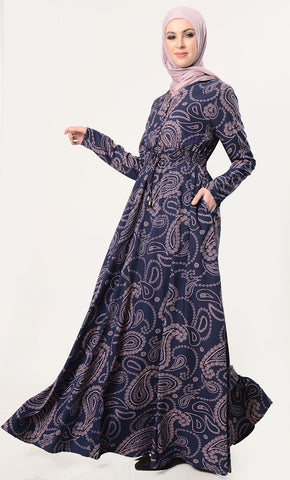 Front Tie-Up Paisley Printed Everyday Abaya - EastEssence.com