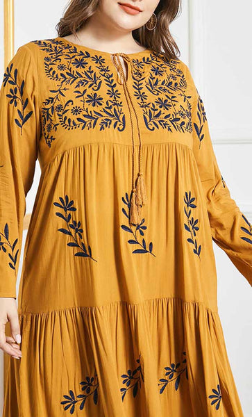 Front with embroidery abaya- Yellow - *Size Up* - EastEssence.com