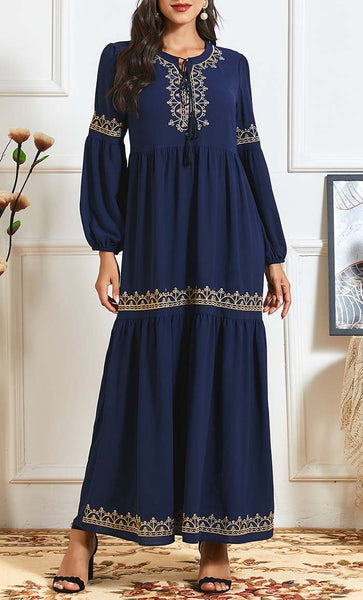 Front with golden detail- Navy - *Size Up* - EastEssence.com