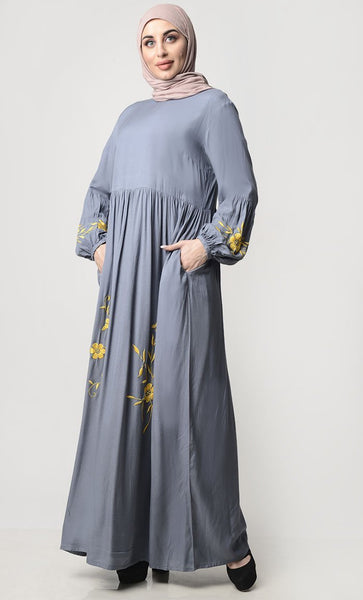 Front With Thread Embroidery Rayon Abaya - EastEssence.com