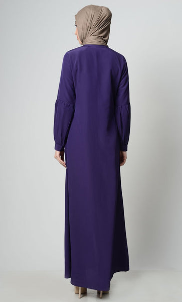 Front Zipper Embroidered Abaya - EastEssence.com