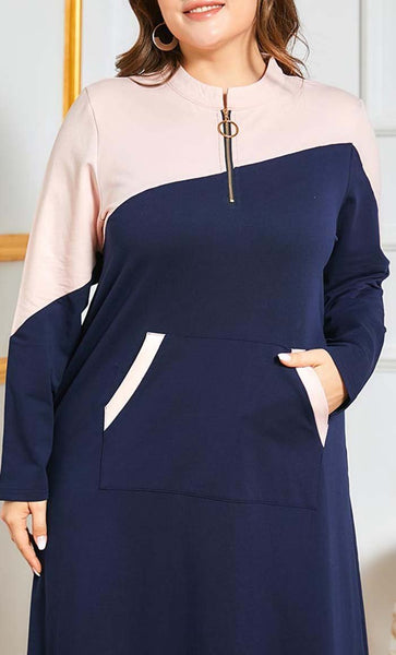 Front Zipper Everyday Abaya-Navy - EastEssence.com