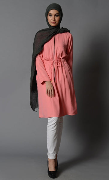 Front Zipper Moss Crepe Tunic-Final Sale Item - EastEssence.com