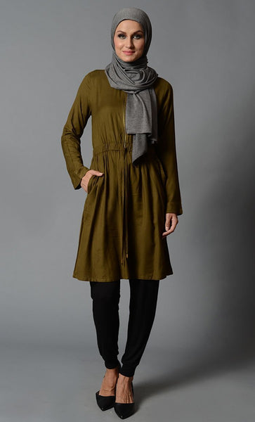 Front Zipper Rayon Tunic-Final Sale Item - EastEssence.com