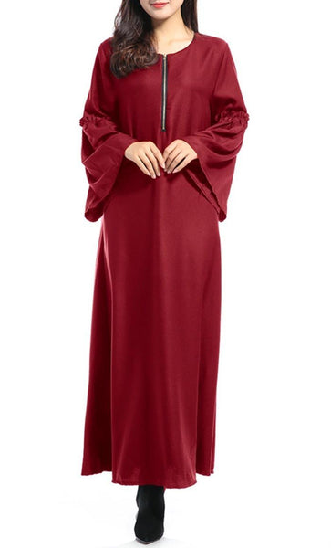 Front Zipper Solid Abaya Dress - *Size Up* - EastEssence.com