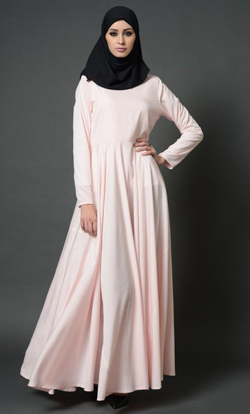 Gathers Detailed Front Yoke Flared Abaya Dress - EastEssence.com