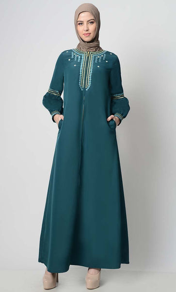Geometric Embroidered Abaya-Teal - EastEssence.com
