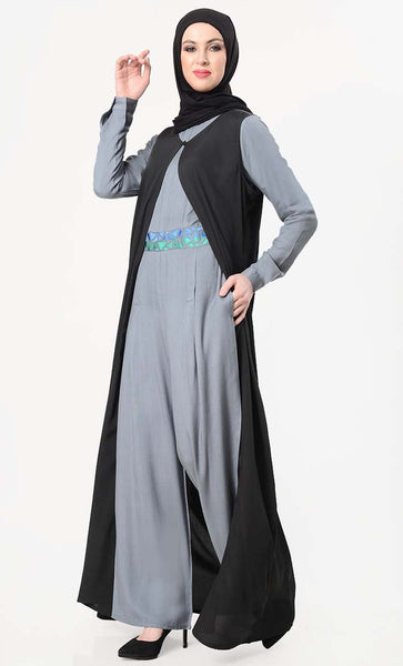 Geometric Embroidered Jumpsuit With Shrug - Grey - EastEssence.com