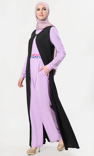 Geometric Embroidered Jumpsuit With Shrug - Lavender - EastEssence.com