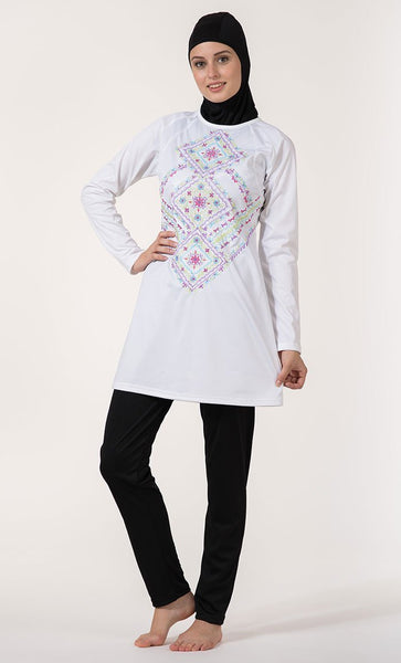 Geometrical And Floral Embroidered Swimwear Burkini Three Piece Set - EastEssence.com