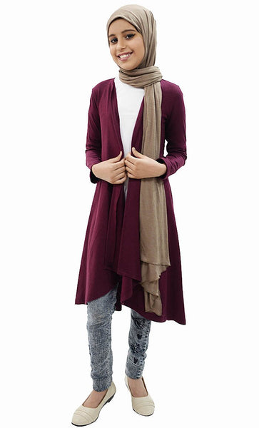 Girl Long Shrug-Wine - EastEssence.com