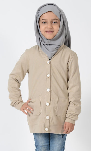 Girls Beige Accent Button Cardigan - EastEssence.com
