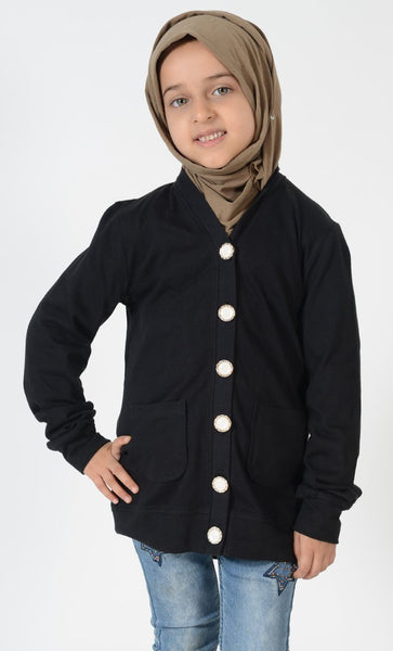 Girls Black Accent Button Cardigan - EastEssence.com