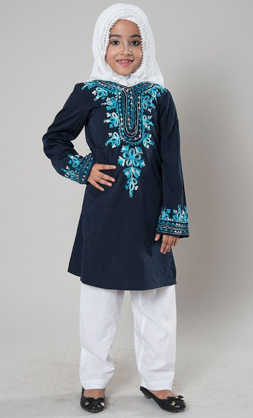 Girls Blue Embroidered Shalwar Kameez - EastEssence.com