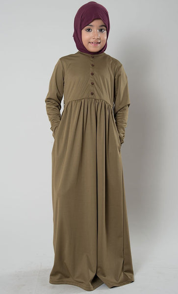 Girls Button Abaya Dress - EastEssence.com