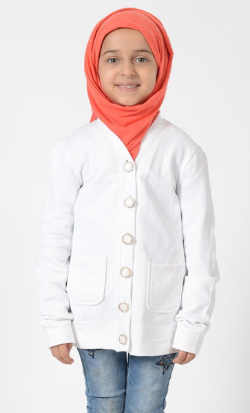 Girls White Accent Button Cardigan - EastEssence.com