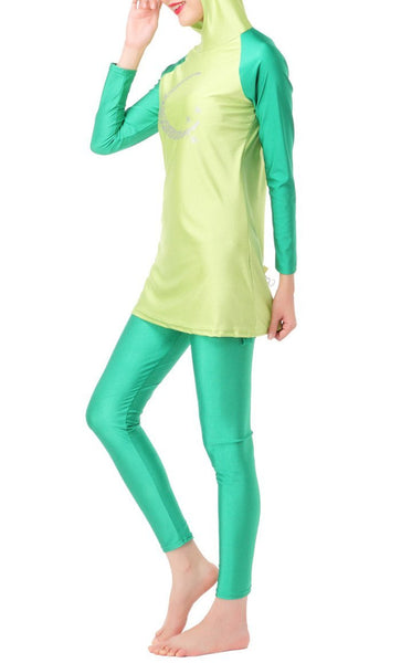 Glam Detailed Swimwear Burkini (Green) *Size Up* - EastEssence.com