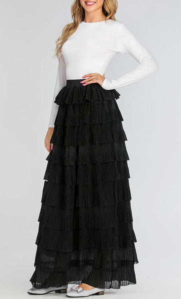 Glimmer Trendy Skirt (Black) *Size Up* - EastEssence.com