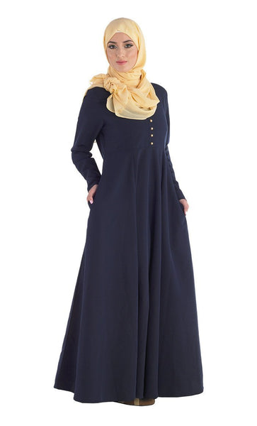 Gold Buttons Detail Fit And Flared Abaya Dress - EastEssence.com