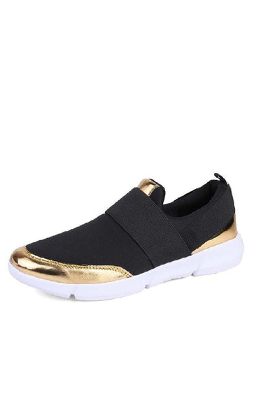 Gold Detailed Canvas Shoes - Black - *Size Up* - EastEssence.com