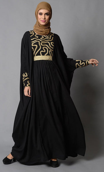 Gold Embroidered Accents Kaftan Style Eid Abaya Dress - EastEssence.com