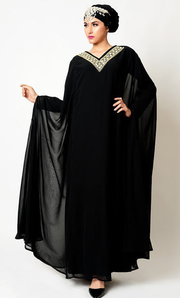Gold Embroidered Neclace Design Kaftan Sleeves Abaya Dress - EastEssence.com