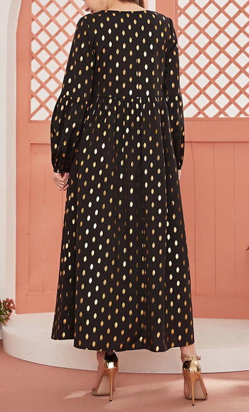 Gold Foil Printed Waist Gathered Summer Abaya - *Size Up* - EastEssence.com