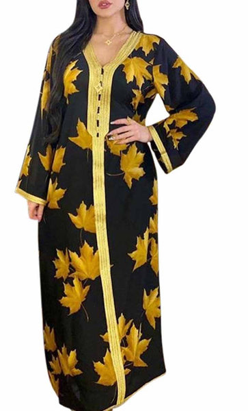 Gold Summer Printed With Lace Loose Abaya Dress- *Size Up* - EastEssence.com
