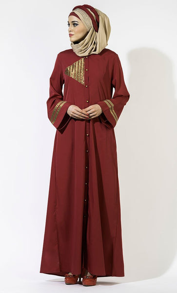 Golden Front Open Button Abaya/ Jilbab - EastEssence.com