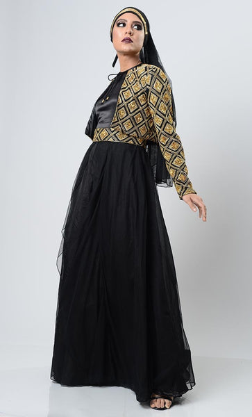 Golden Gleam Blinged Abaya-Black - EastEssence.com