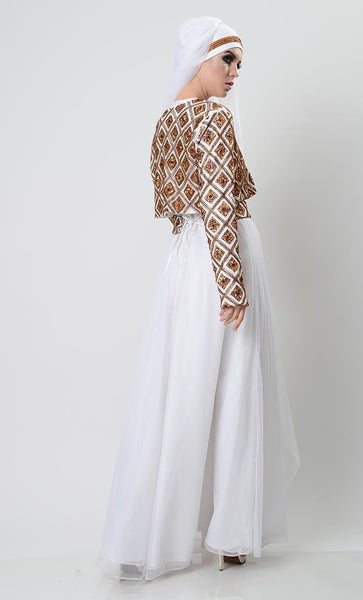 Golden Gleam Blinged Abaya-White - EastEssence.com