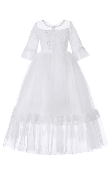 Gorgeous Princess Girl's Dress (White)-*Size Up* - EastEssence.com