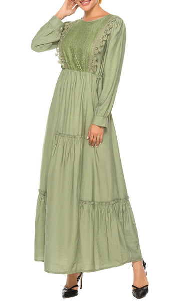 Got That Lace Deatail Abaya Dress - Green - *Size Up* - EastEssence.com