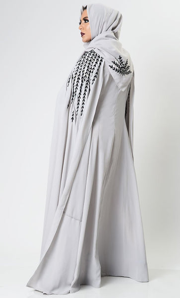 Gray Dramatic Lavish Embroiderd Abaya - EastEssence.com