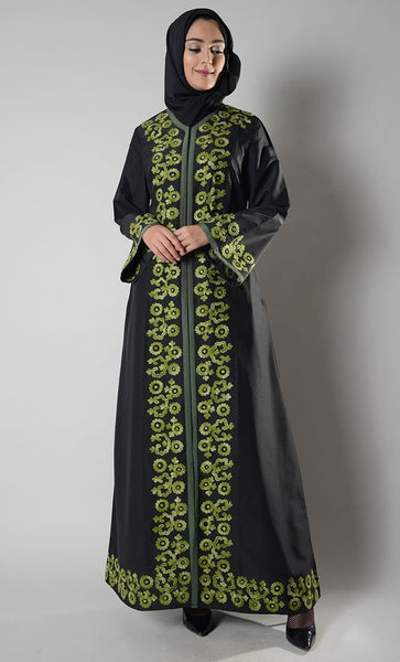 Green Embroidered Abaya Jilbab - EastEssence.com