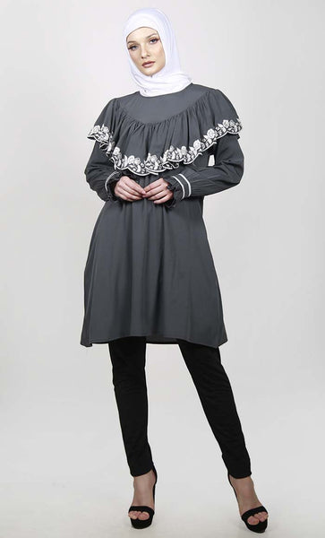 Grey Cloak Style Tunic With Ruffled Sleeves - EastEssence.com