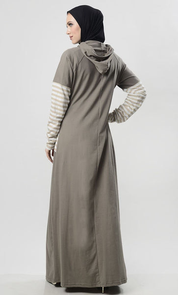Grey Hooded Abaya With Front Pocket - EastEssence.com