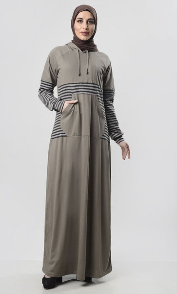 Grey Jersey Hooded Abaya With Front Pocket - EastEssence.com