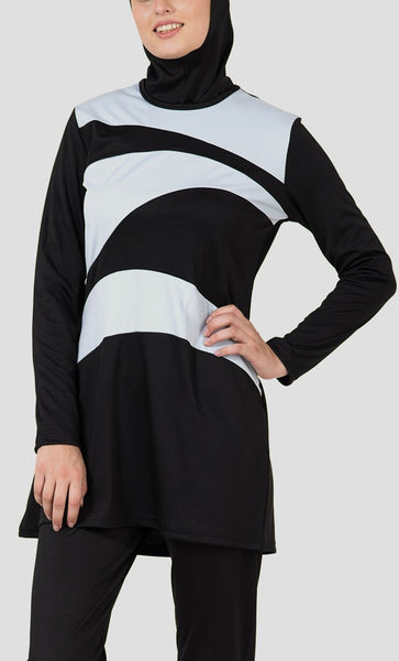 Grey Wavy Panel Detail Swimwear Burkini Three Piece Set - EastEssence.com