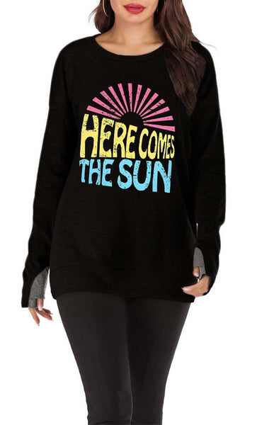 Here Comes The Sun Printed Tee-Black - EastEssence.com