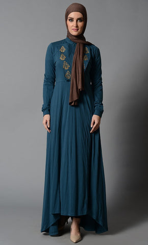 High -Low Cotton Jersey Abaya with Embroidery & Flap Details - EastEssence.com