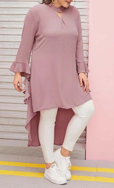High Low Everyday Tunic-Pink-Pink - *Size Up* - EastEssence.com
