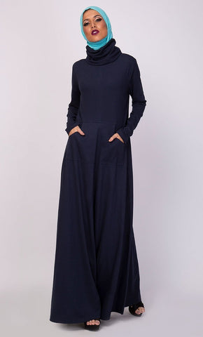 High Neck Collared And Pockets Detail Abaya Dress - EastEssence.com