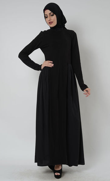 Highneck Pleated muslimah Abaya Dress - EastEssence.com