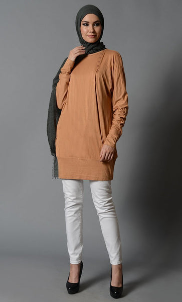 Honey Sand Jersey Short Tunic - EastEssence.com